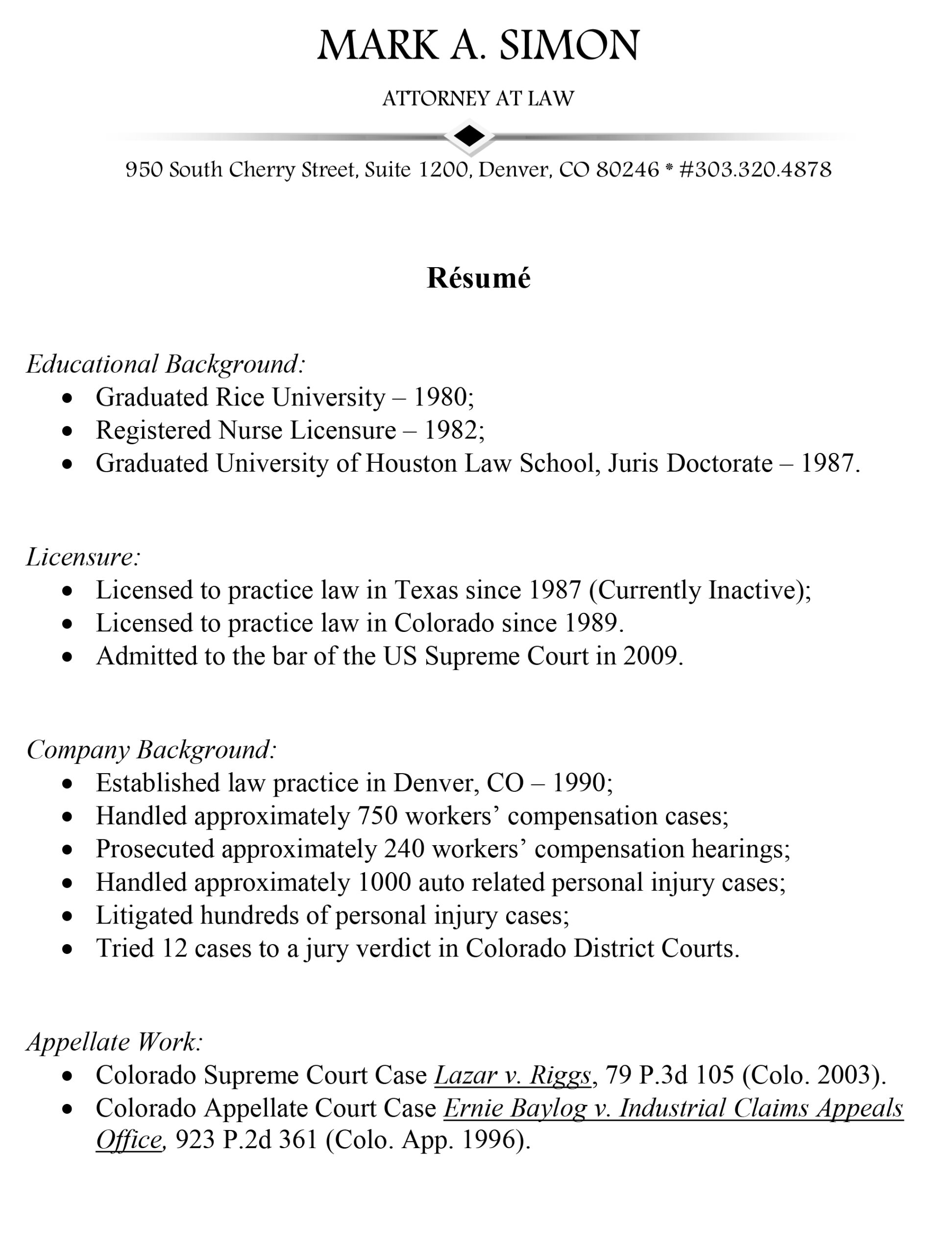 mark simon attorney at law personal injury workers comp resume tips for writing good Resume Personal Injury Attorney Resume