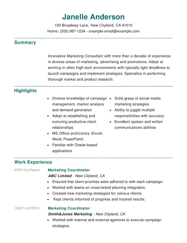 marketing combination resume samples examples format templates help sample thank you for Resume Combination Resume Sample