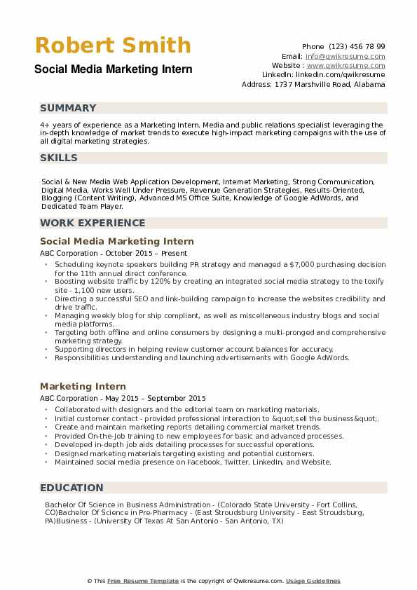 marketing intern resume samples qwikresume template pdf counselor format cover letter for Resume Marketing Resume Template