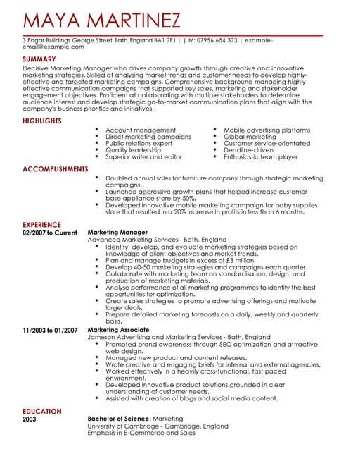 marketing manager cv template samples examples resume full best scanner counselor format Resume Marketing Resume Template