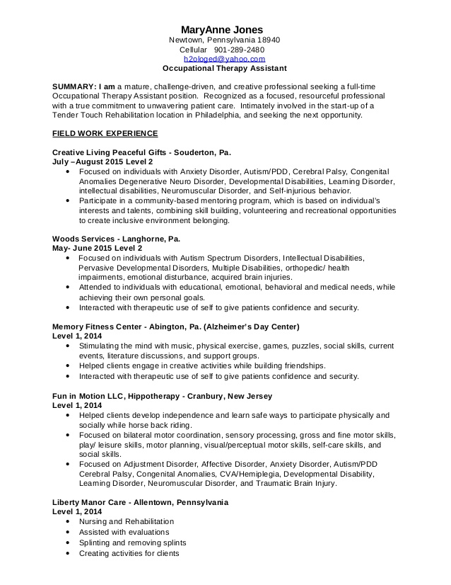 mary anne occupational therapy assistant resume volunteer 10302015mary best headline Resume Occupational Therapy Volunteer Resume