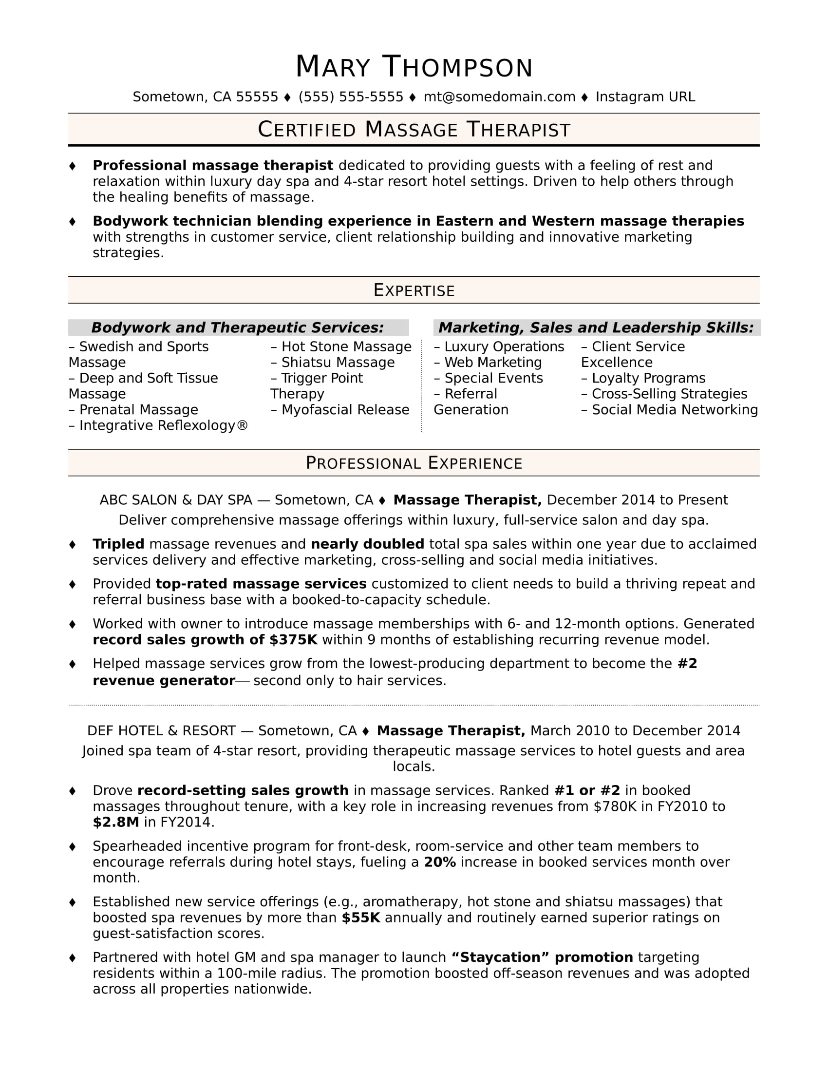 massage therapist resume sample monster objective dermatology entry level for examples Resume Massage Therapist Resume Objective