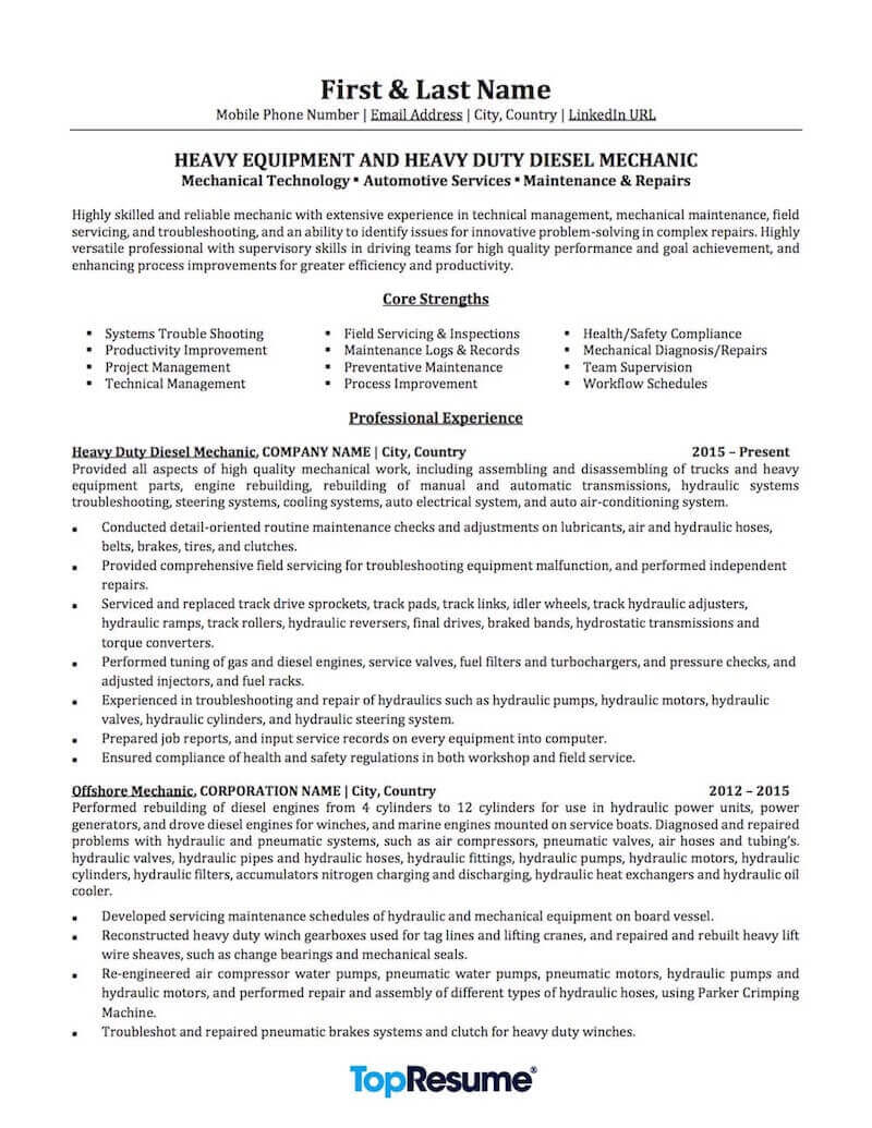mechanic resume sample professional examples topresume automotive technician services Resume Automotive Technician Resume Sample