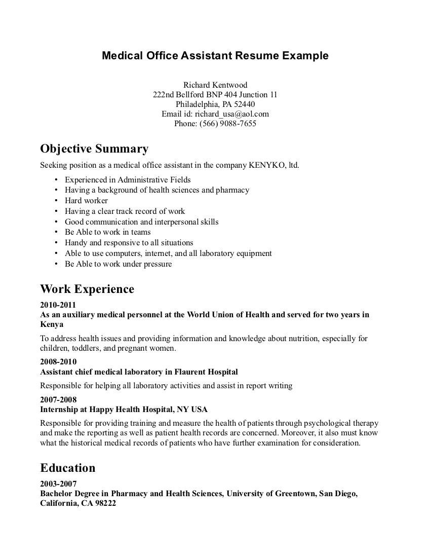 medical assistant resume objective examples office administration psychology format for Resume Medical Office Administration Resume Objective