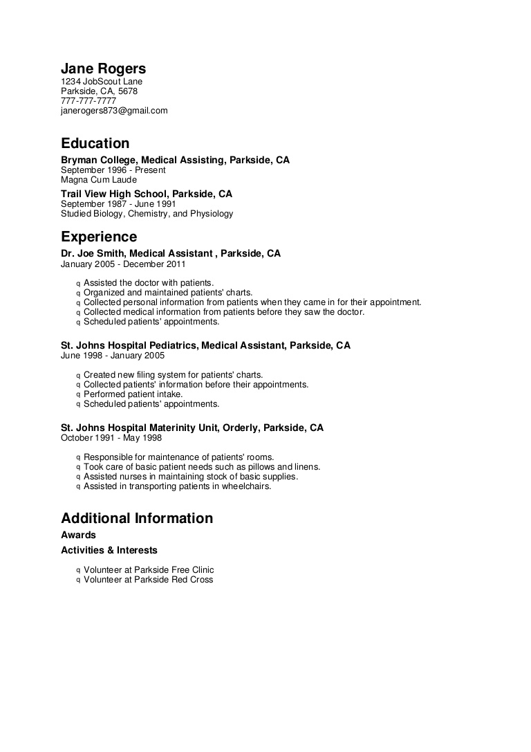 medical assistant resume objective no experience cna sample phpapp02 thumbnail Resume Cna Resume Sample No Experience