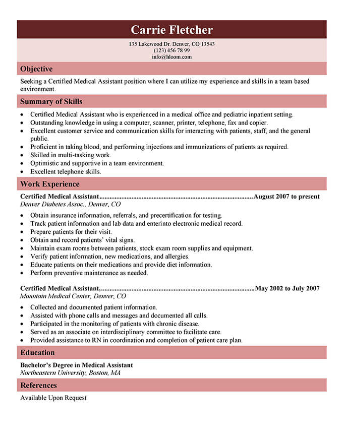 medical assistant resume templates and job tips hloom for healthcare worker generic Resume Resume For Healthcare Worker