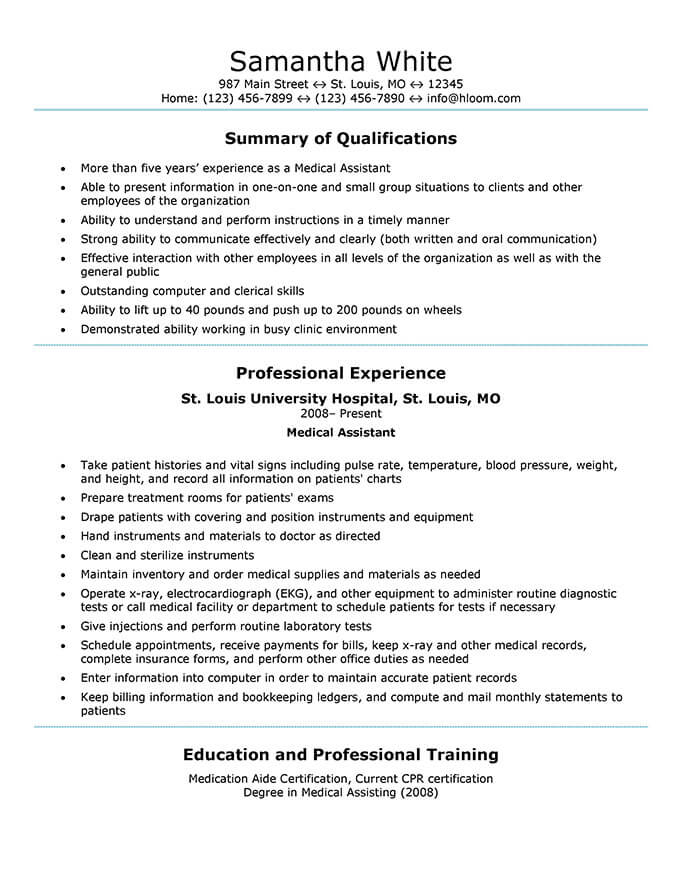 medical assistant resume templates and job tips hloom summary examples generic sample vet Resume Medical Resume Summary Examples