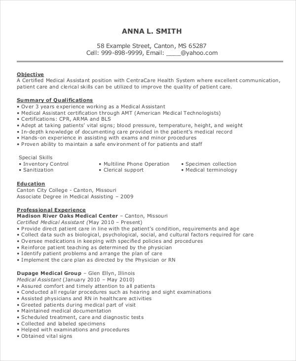 medical assistant resume templates pdf free premium summary examples for project Resume Medical Resume Summary Examples
