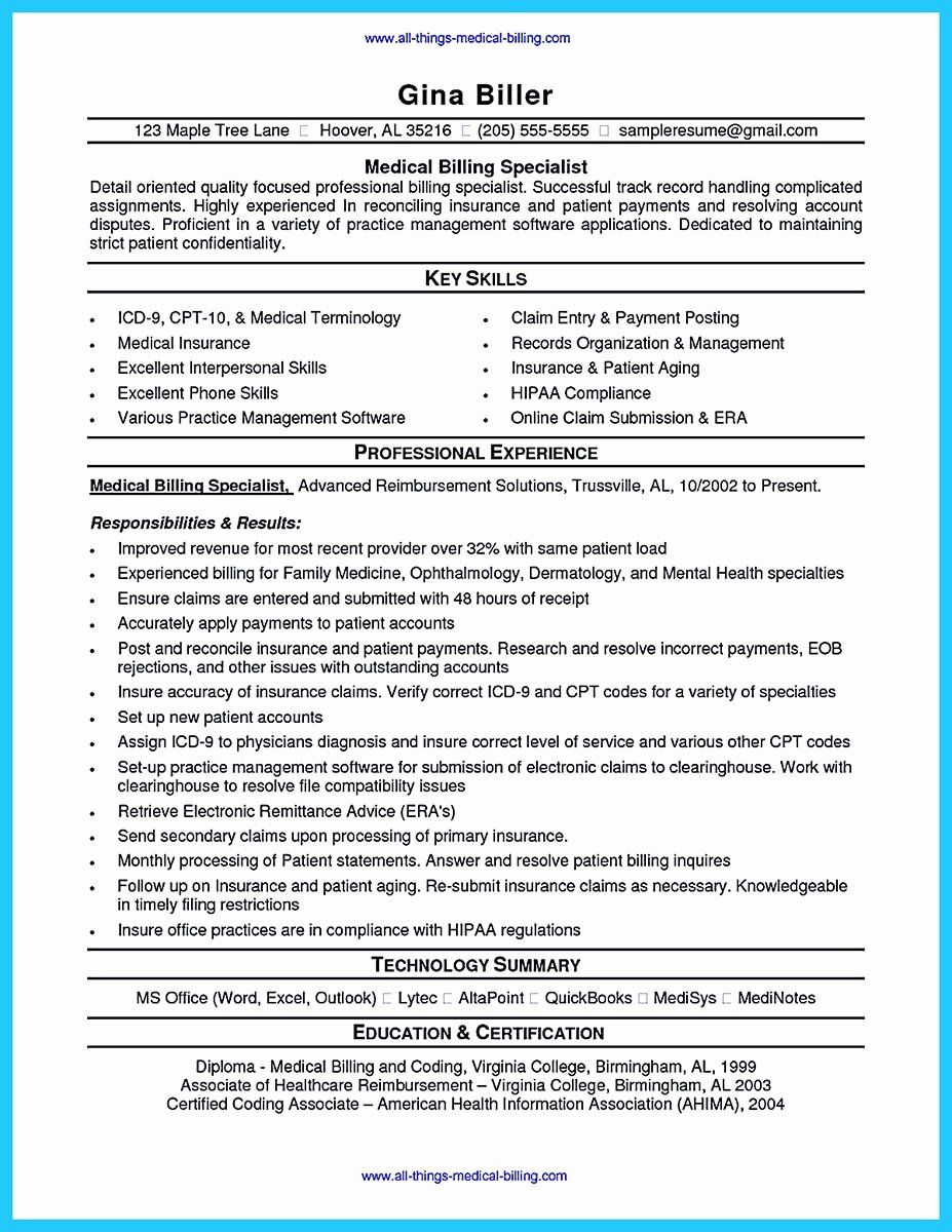 medical biller resume examples awesome exciting billing specialist that brings the job to Resume Medical Billing Resume Examples