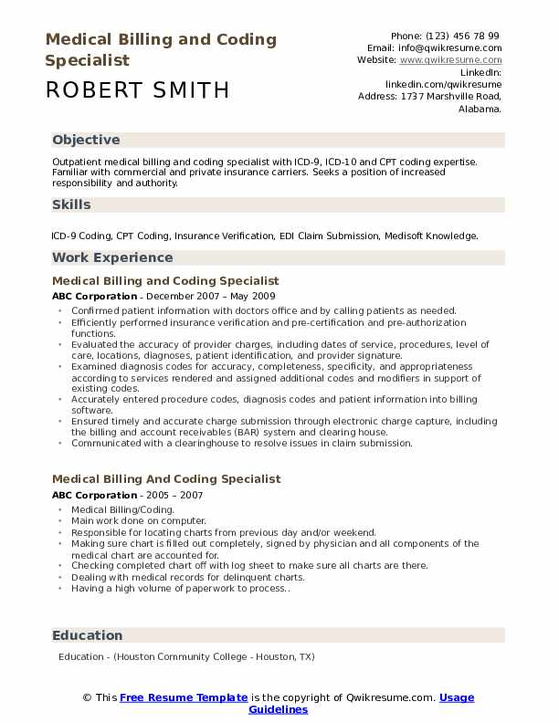 medical billing and coding specialist resume samples qwikresume pdf sample for clinical Resume Medical Billing And Coding Resume