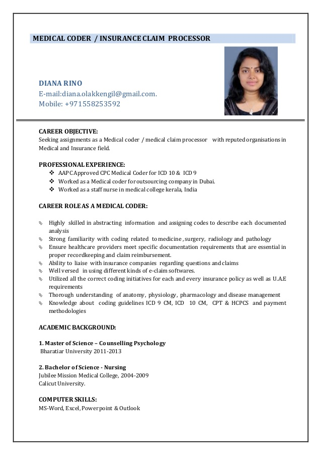 medical coder resume samples format template with declaration statement examples ucf for Resume Medical Coder Resume Template