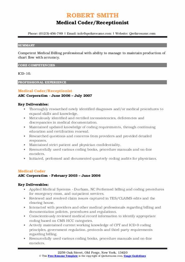 medical coder resume samples qwikresume template pdf declaration statement examples Resume Medical Coder Resume Template