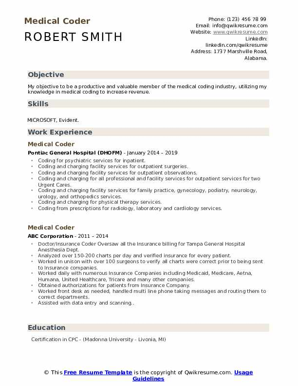 medical coder resume samples qwikresume template pdf make stand out for general manager Resume Medical Coder Resume Template