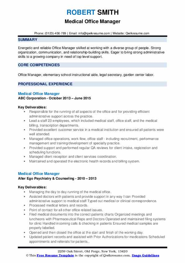 medical office manager resume samples qwikresume duties of for pdf comp sci cognizant Resume Duties Of Office Manager For Resume