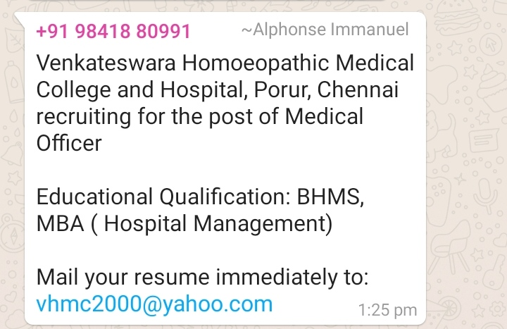 medical officer chennai homeopathy360 bhms resume for hospital job finance manager Resume Bhms Medical Resume For Hospital