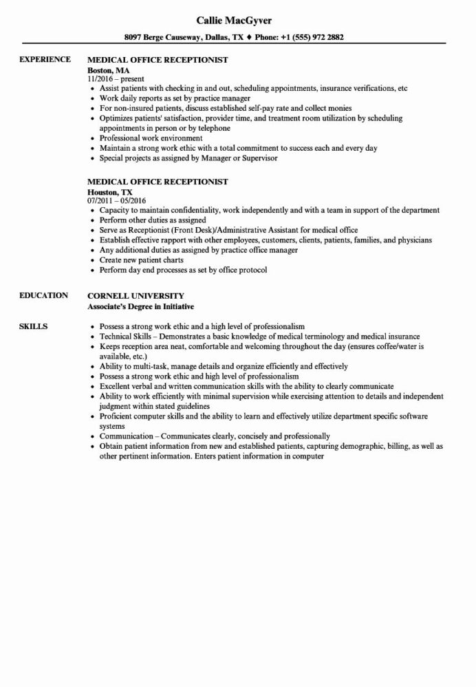 medical receptionist job description front desk duties resume entry level examples and Resume Receptionist Job Description Resume