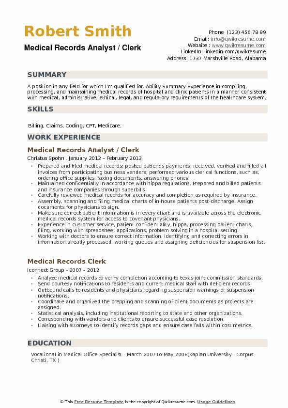 medical records analyst resume samples qwikresume field template pdf oracle webcenter Resume Medical Field Resume Template