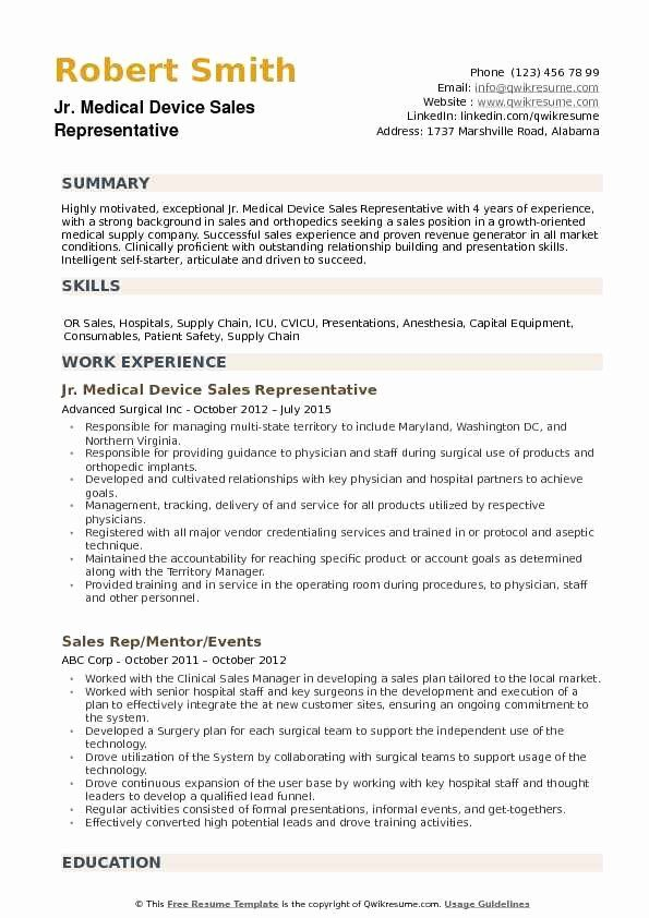 medical resume examples new device representative samples work from home typeface for on Resume Sales Resume Examples 2020