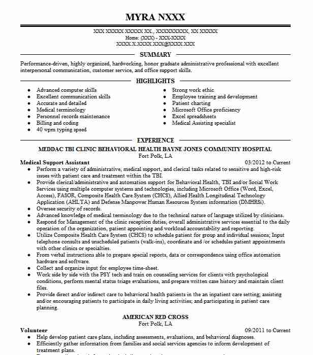 medical support assistant resume example livecareer catering manager high school maker Resume Medical Support Assistant Resume