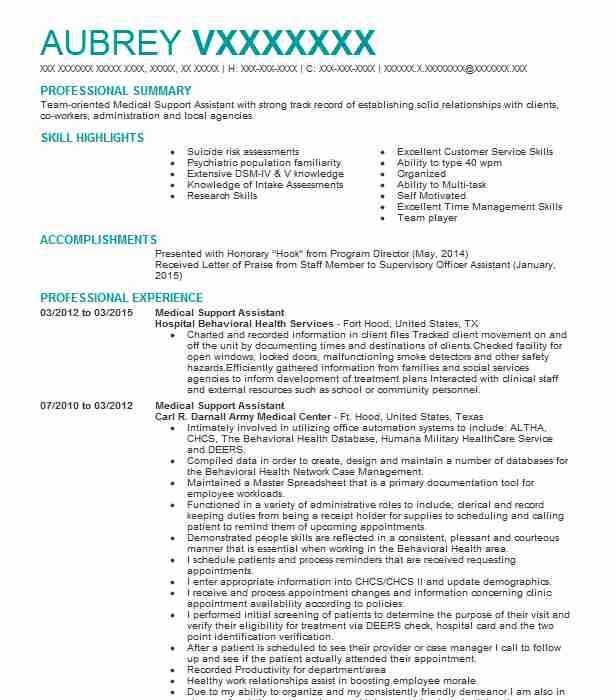 medical support assistant resume example va center indianapolis kpi technician examples Resume Medical Support Assistant Resume