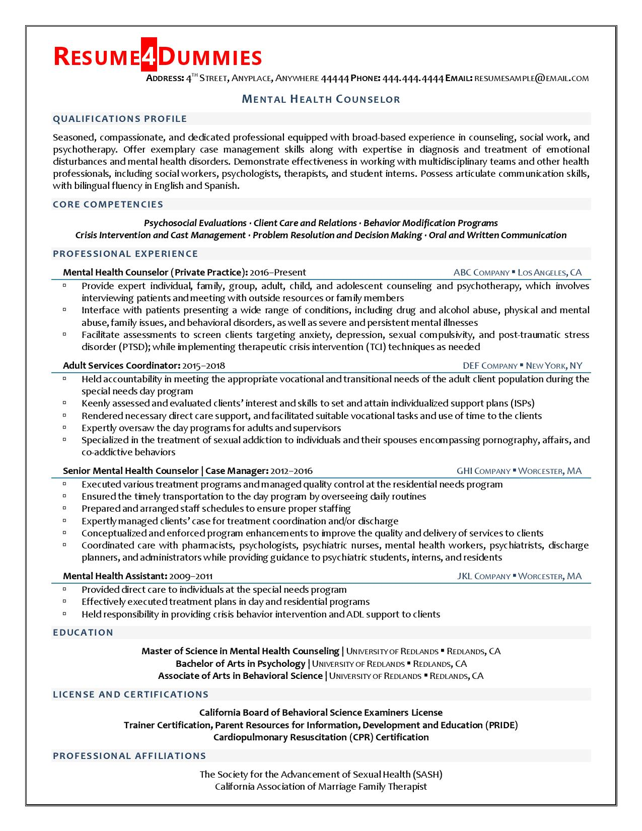 mental health counselor resume example resume4dummies entry level army mechanic examples Resume Entry Level Mental Health Counselor Resume
