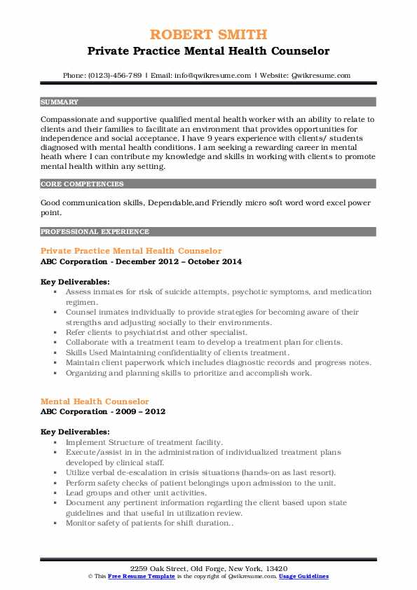 mental health counselor resume samples qwikresume entry level pdf sample format for Resume Entry Level Mental Health Counselor Resume