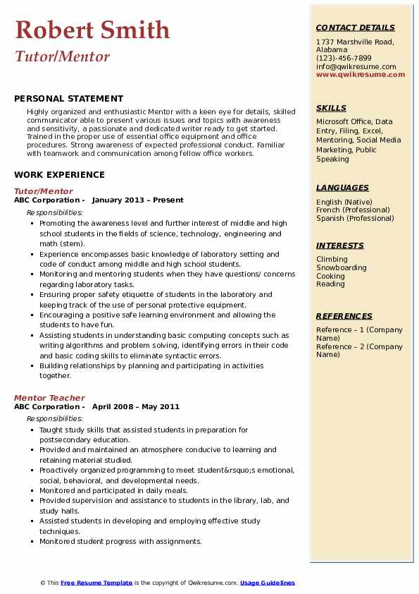 mentor resume samples qwikresume line about mentoring pdf core expertise optimal san jac Resume Resume Line About Mentoring