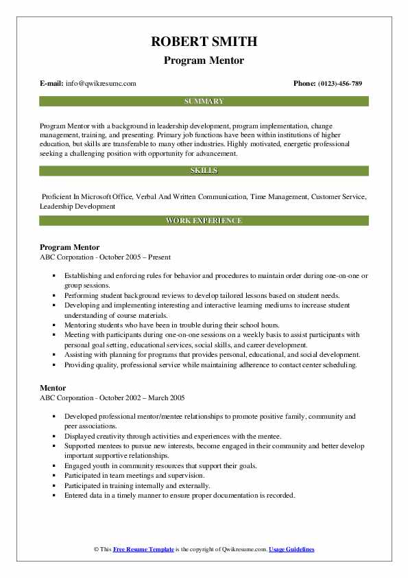 mentor resume samples qwikresume line about mentoring pdf visual examples tax attorney Resume Resume Line About Mentoring