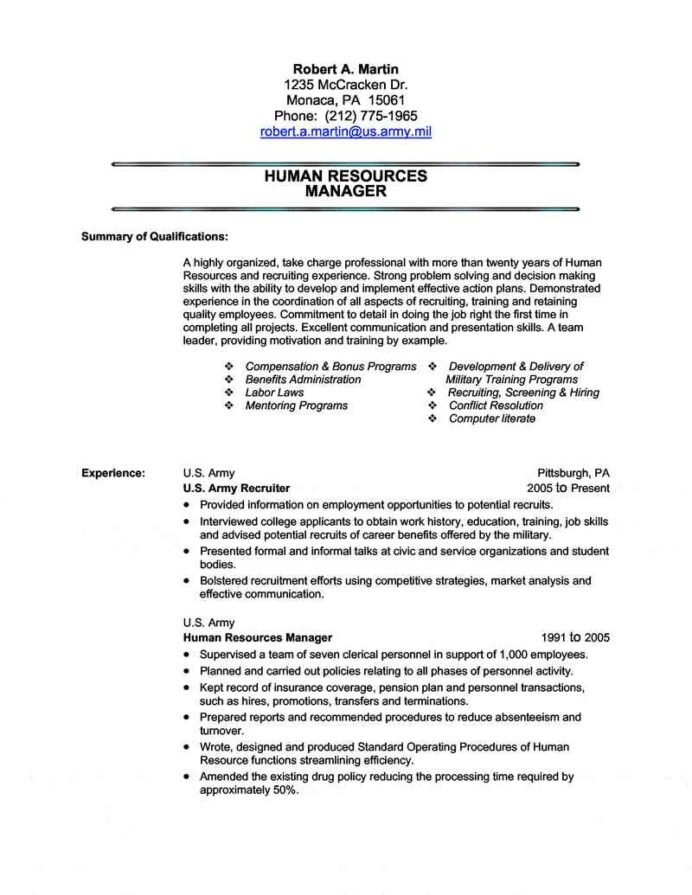 military transition resume writing civilian for the first time service to human resources Resume Resume Writing Service For Military To Civilian