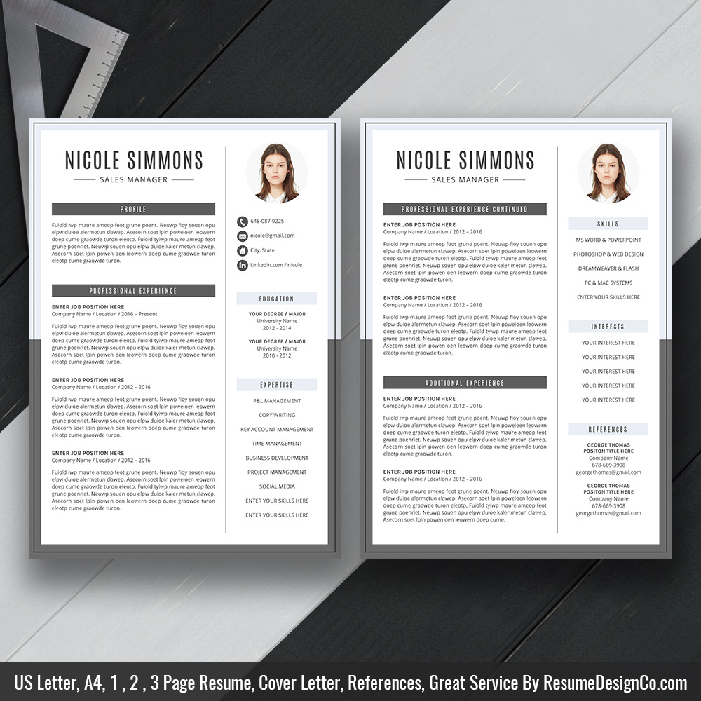 modern and simple resume cv template for ms word curriculum vitae professional format Resume Two Page Resume Template