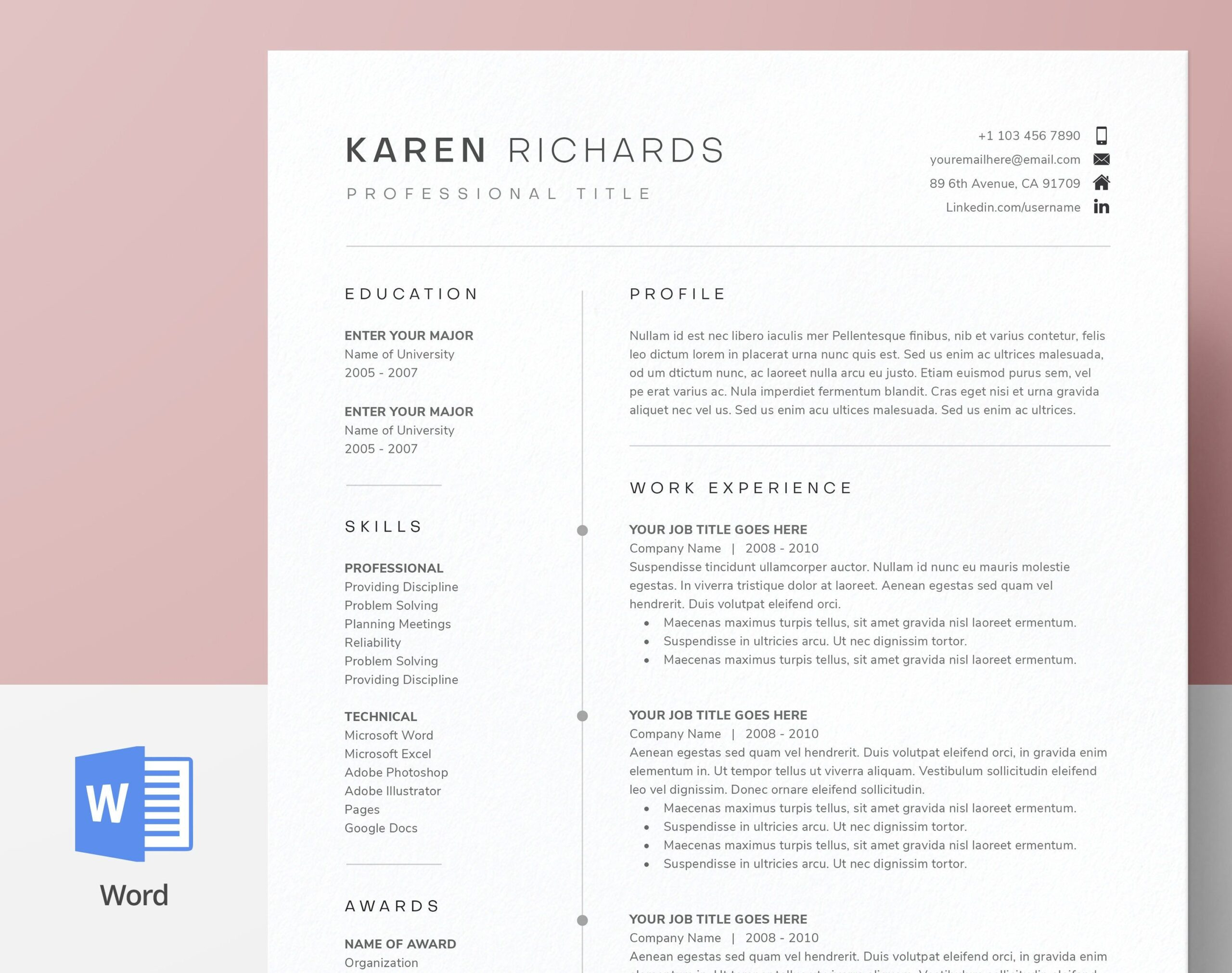 modern clean one resume template cv cover letter references for ms word instant digital Resume One Page Resume Template Google Docs