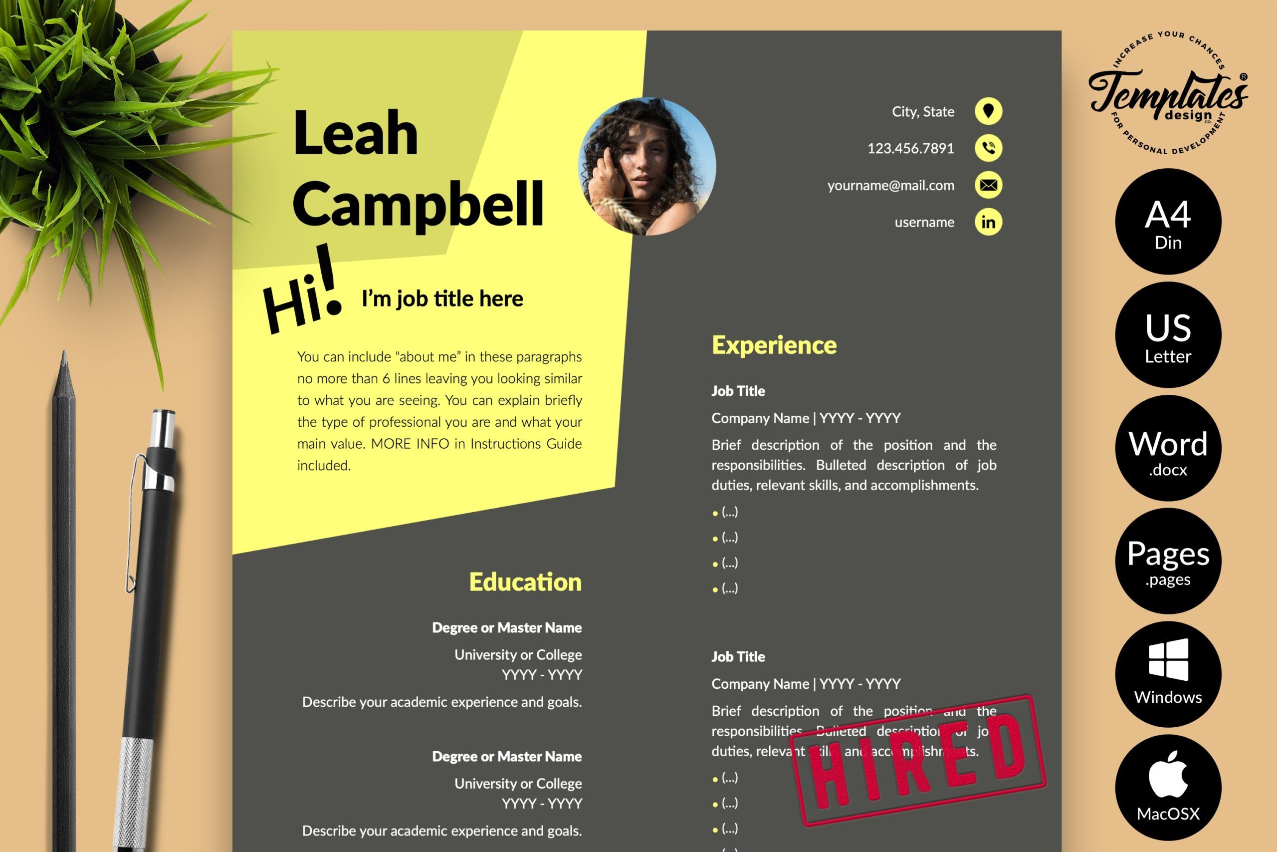 modern dark resume for word and creative any job with cover letter references in cv Resume Amelia Phillips Resume Template