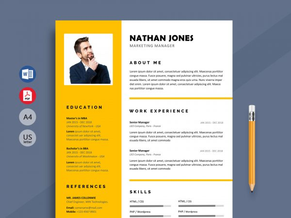 modern resume cv template free resumekraft with shout 600x450 relevant courses on print Resume Modern Resume Template With Picture
