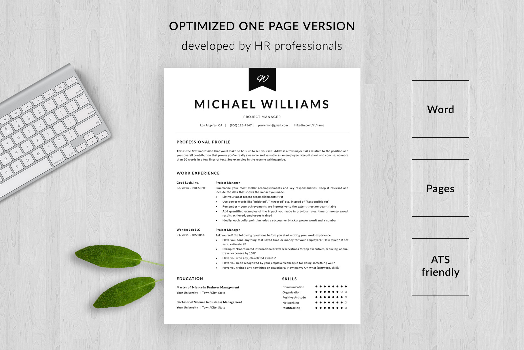 modern resume template and cover letter michael bonus format ats friendly one Resume Resume Format Ats Friendly