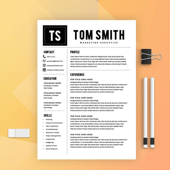 modern resume template cover letter cv ms word etsy best il 570xn q0sq security guard Resume Best Modern Resume Template
