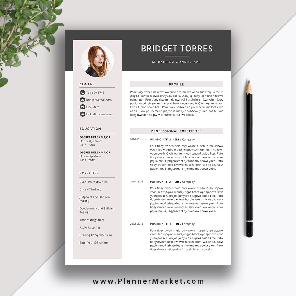 modern resume template creative cv word design cover letter instant the bridget Resume The Best Resume Format 2020