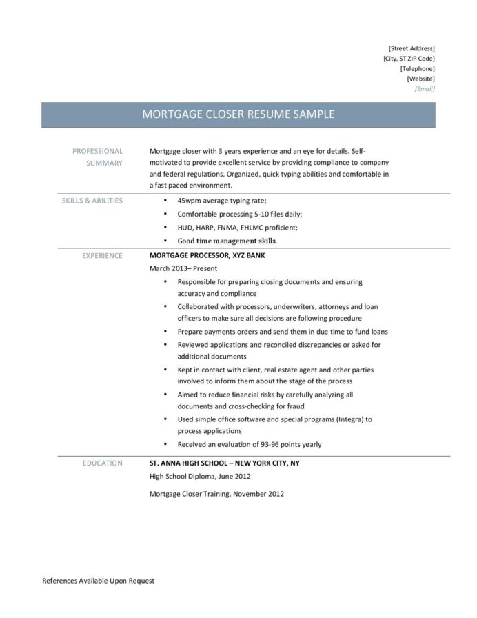 mortgage closer resume template and job description by builders medium professional Resume Mortgage Professional Resume