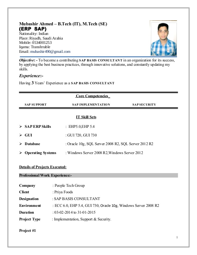 mubashir ahmed erp sap basis consultant resume with yr exp implementation format free Resume Erp Implementation Consultant Resume Format