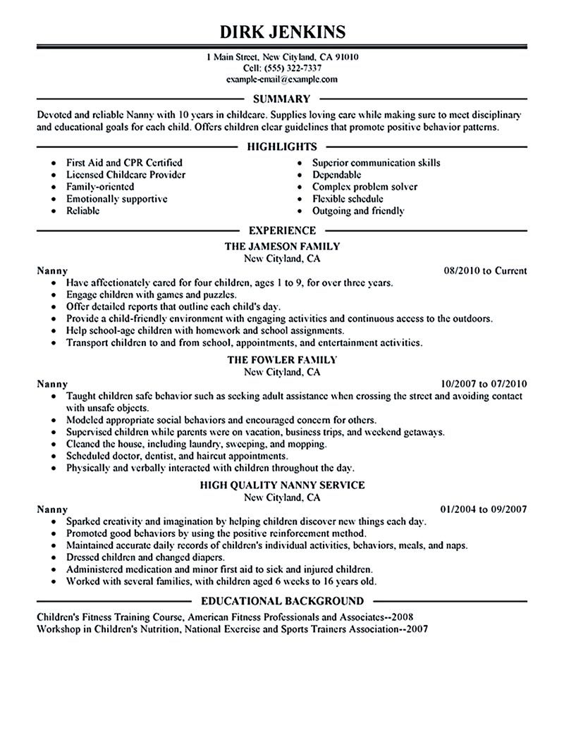 nanny resume example examples sample template for job description envato entry level Resume Nanny Job Description Resume