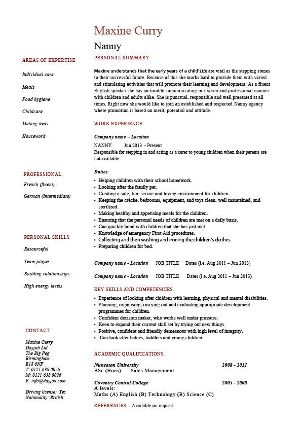 nanny resume example sample babysitting children professional skills jobs babysitter job Resume Babysitter Job Description For Resume