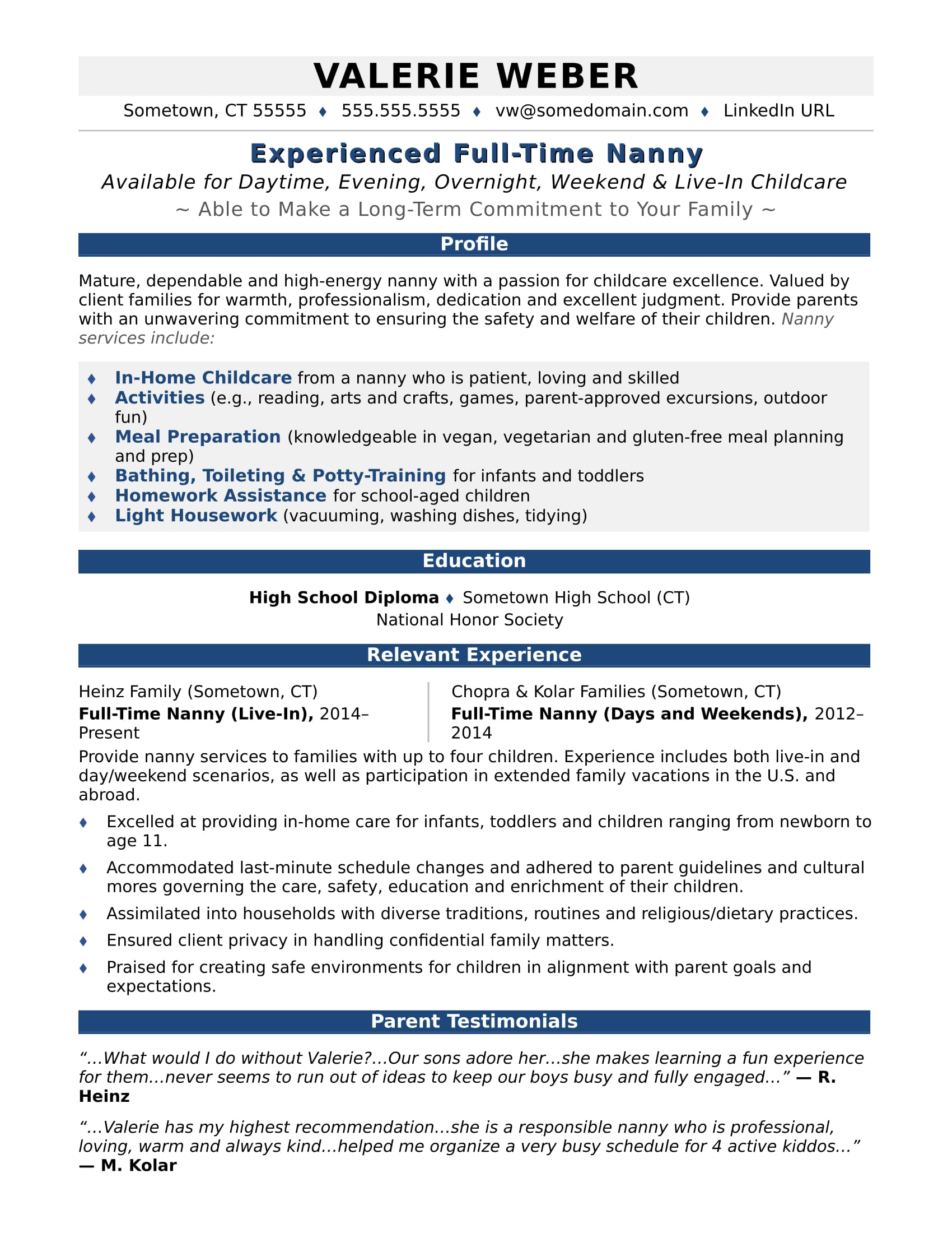 nanny resume sample monster free babysitting templates istqb certified tester with logo Resume Free Babysitting Resume Templates