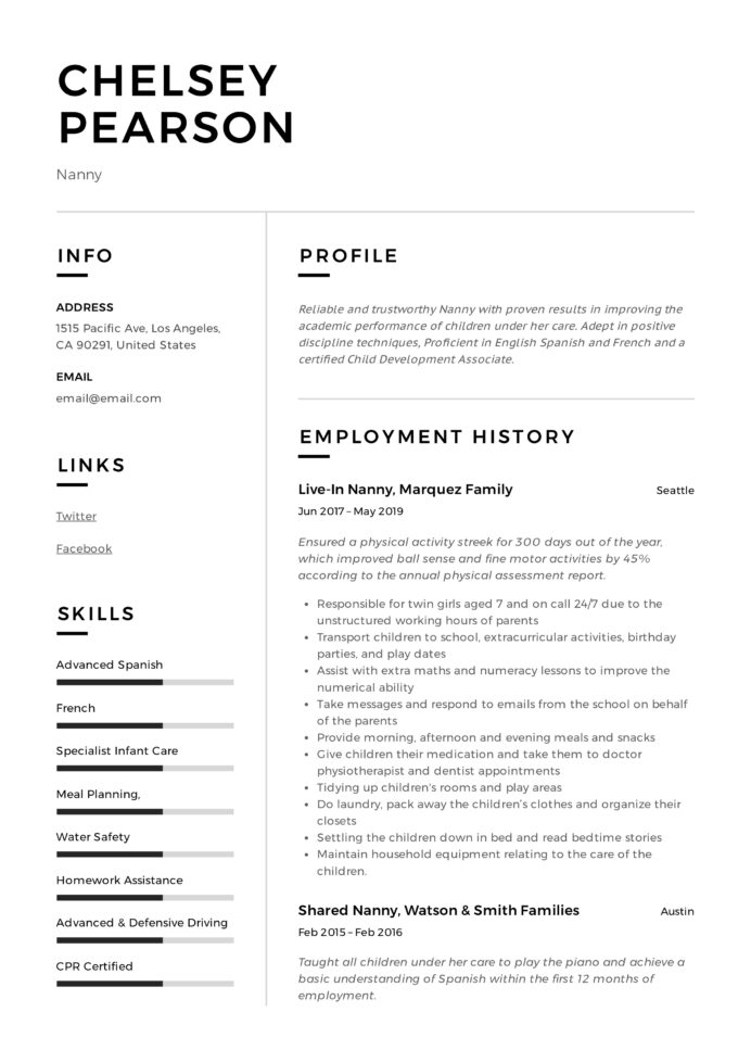 nanny resume writing guide template samples pdf responsibilities on profile summary for Resume Nanny Responsibilities On Resume