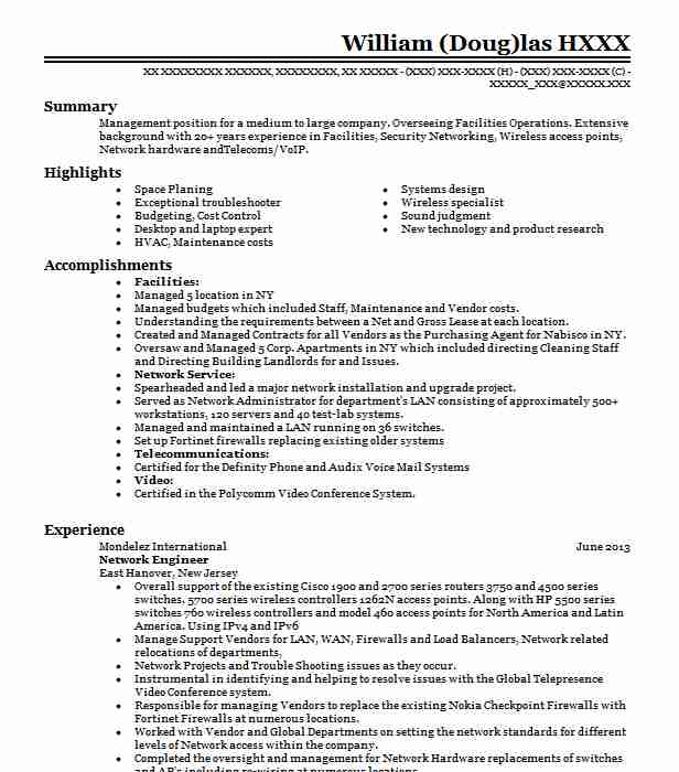 network engineer resume example technical resumes livecareer sample for computer fresh Resume Network Engineer Resume Sample