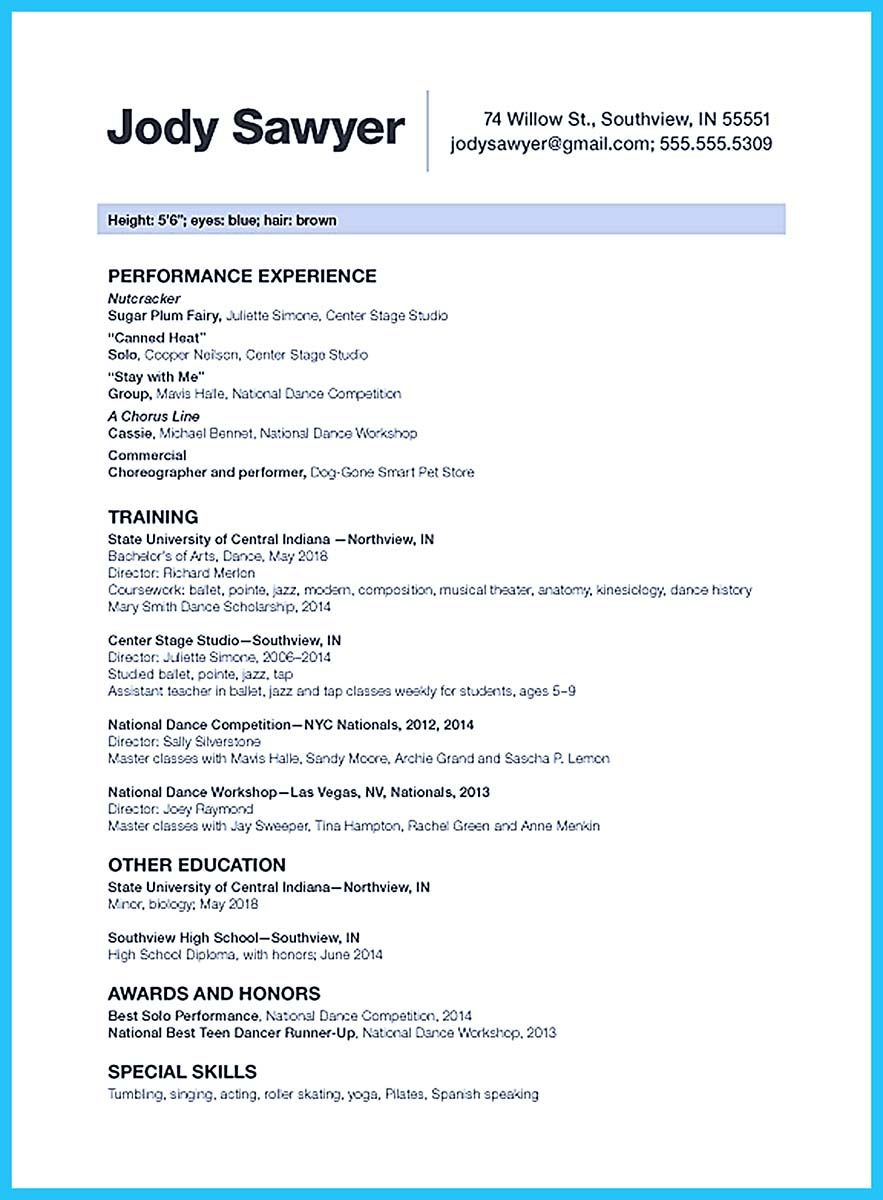nice the best and impressive dance resume examples collections cover letter for college Resume Dance Resume For College
