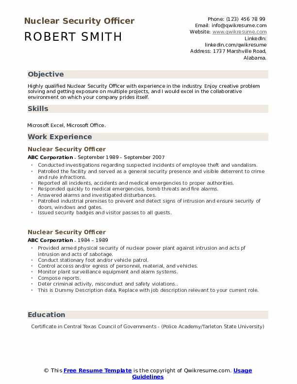 nuclear security officer resume samples qwikresume job description pdf production summary Resume Security Job Description Resume