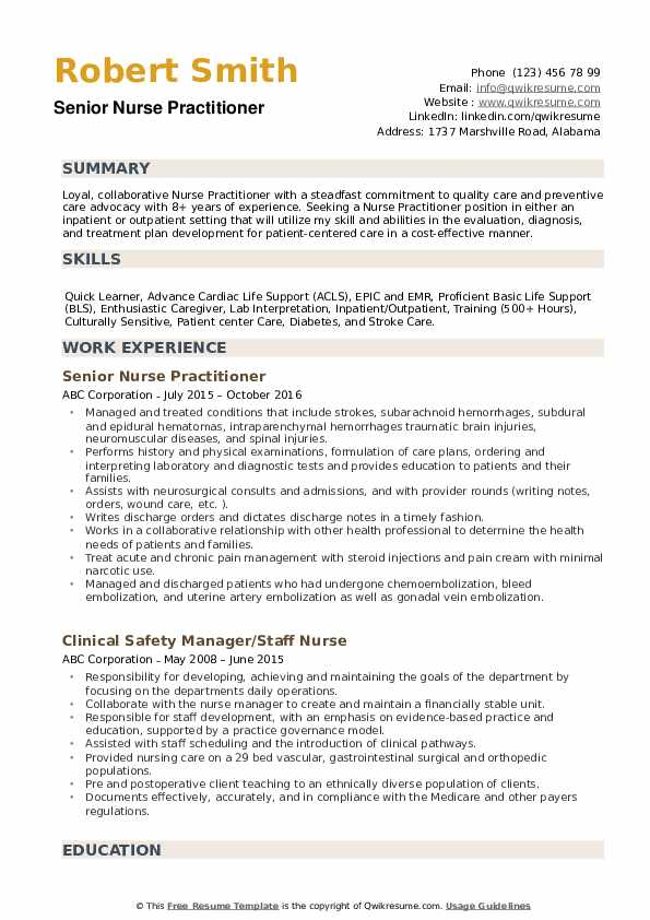 nurse practitioner resume samples qwikresume examples pdf experienced ios developer Resume Nurse Practitioner Resume Examples