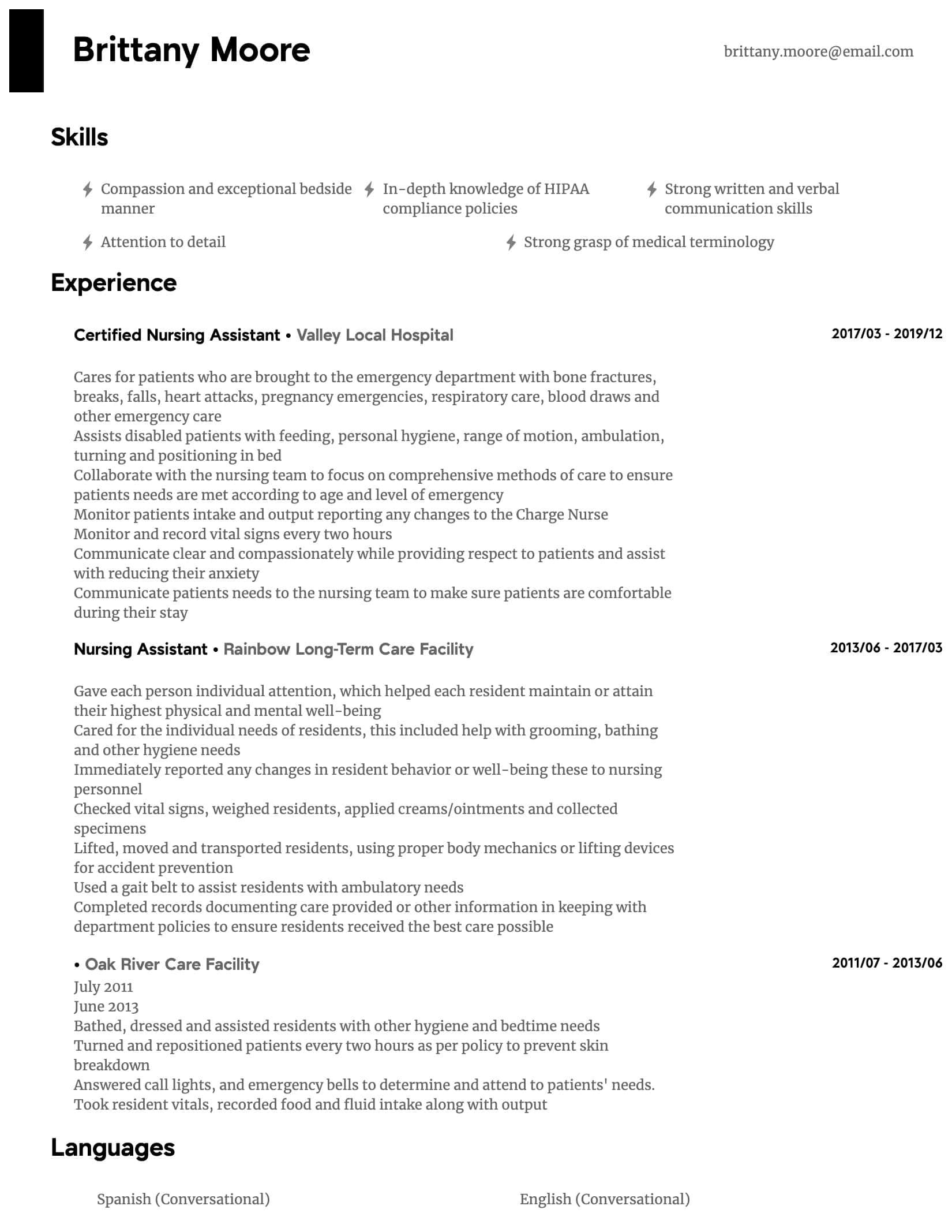 nursing assistant resume samples all experience levels examples intermediate standard Resume Nursing Assistant Resume Examples