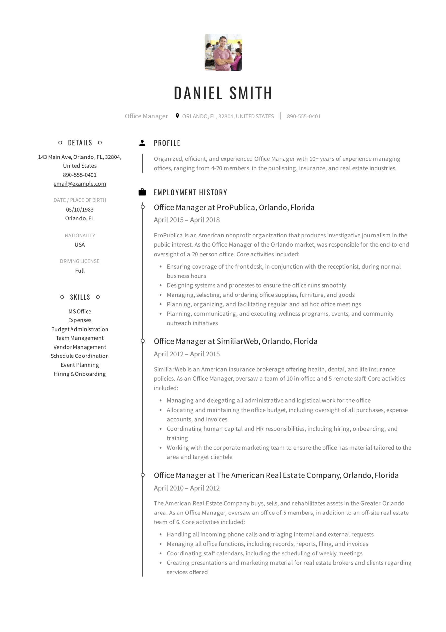 office manager resume guide samples pdf examples of great resumes example elevator Resume Examples Of Great Resumes 2020