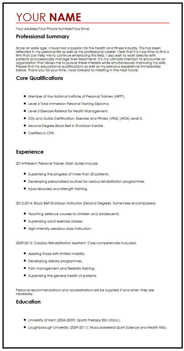 one cv format myperfectcv summary resume sample histotechnologist front end engineer Resume One Page Resume Examples