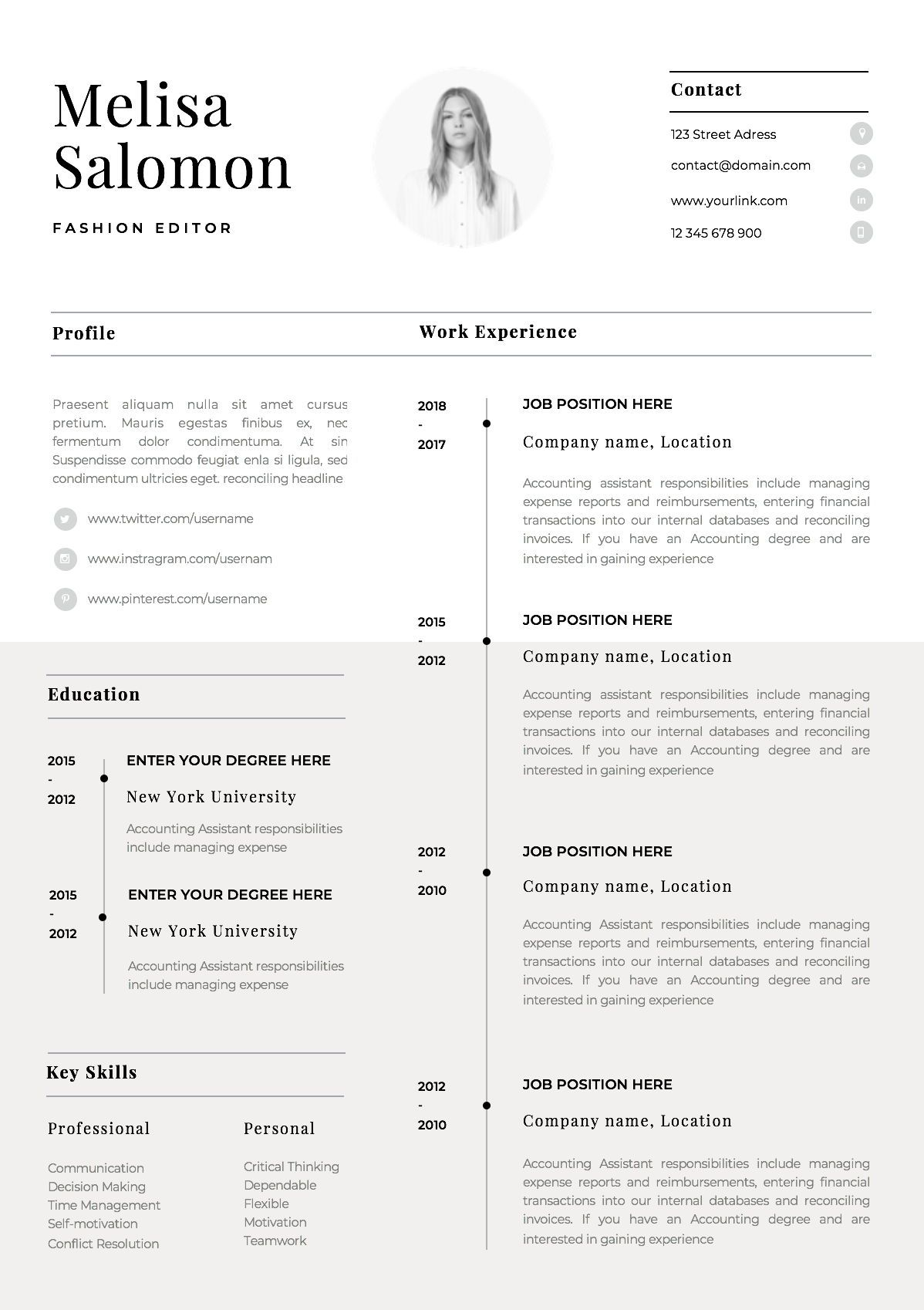 one resume template with photo for word cv singe professiona simple creator Resume One Page Resume Creator